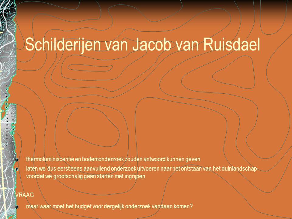 Schilderijen van Jacob van Ruisdael thermoluminiscentie en bodemonderzoek zouden antwoord kunnen geven laten we dus eerst eens aanvullend onderzoek uitvoeren naar het ontstaan van het duinlandschap voordat we grootschalig gaan starten met ingrijpen VRAAG maar waar moet het budget voor dergelijk onderzoek vandaan komen?