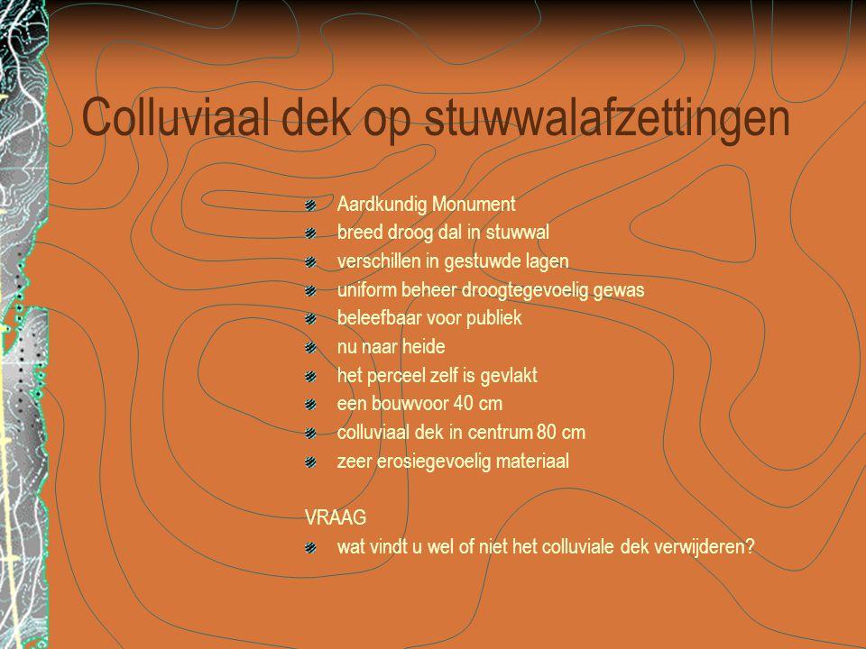 Colluviaal dek op stuwwalafzettingen Aardkundig Monument breed droog dal in stuwwal verschillen in gestuwde lagen uniform beheer droogtegevoelig gewas
