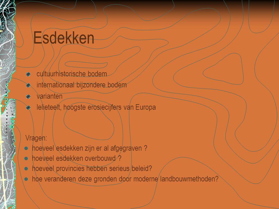 Esdekken cultuurhistorische bodem internationaal bijzondere bodem varianten lelieteelt, hoogste erosiecijfers van Europa Vragen:  hoeveel esdekken zijn er al afgegraven .