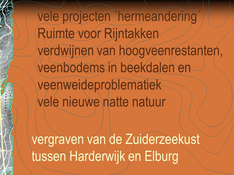 vergraven van de Zuiderzeekust tussen Harderwijk en Elburg vele projecten ´hermeandering´ Ruimte voor Rijntakken verdwijnen van hoogveenrestanten, veenbodems in beekdalen en veenweideproblematiek vele nieuwe natte natuur