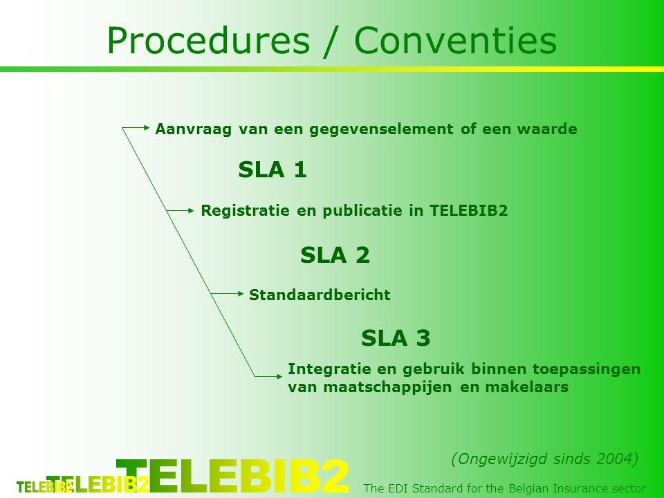 The EDI Standard for the Belgian Insurance sector Procedures / Conventies Aanvraag van een gegevenselement of een waarde Registratie en publicatie in