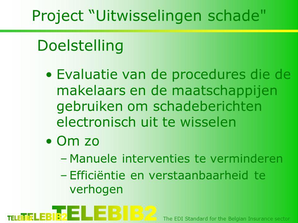 The EDI Standard for the Belgian Insurance sector Project Uitwisseling bijlagen •De bestaande berichten (waar eventueel een bijlage aan gehecht moet worden) –GUID (Globally Unique IDentifier) van dit bericht (RFF+084), de bijlage moet hiernaar verwijzen •Technisch object, bijgevoegd document –Via verwijzing bijgevoegd aan GUID (RFF+085) –MMD (MultiMediaDatafile) Segment •X094MultiMediaFileName •X095MultiMediaFileType, coded (JPEG/TIF/PDF) •X096DataStringBase (64) •X097DataStringLength •X098DataString De berichten