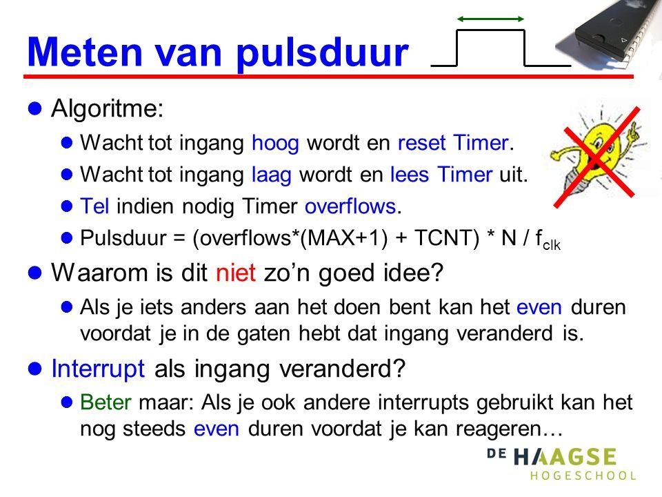 Input capture unit  Timer/Counter1 van de ATmega16 heeft een speciale Input Capture unit voor het meten van pulsduur.