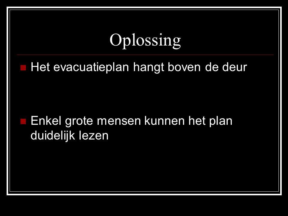 Oplossing  Het evacuatieplan hangt boven de deur  Enkel grote mensen kunnen het plan duidelijk lezen