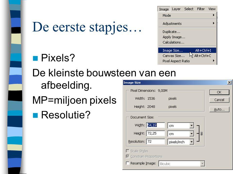 De eerste stapjes…  Pixels. De kleinste bouwsteen van een afbeelding.