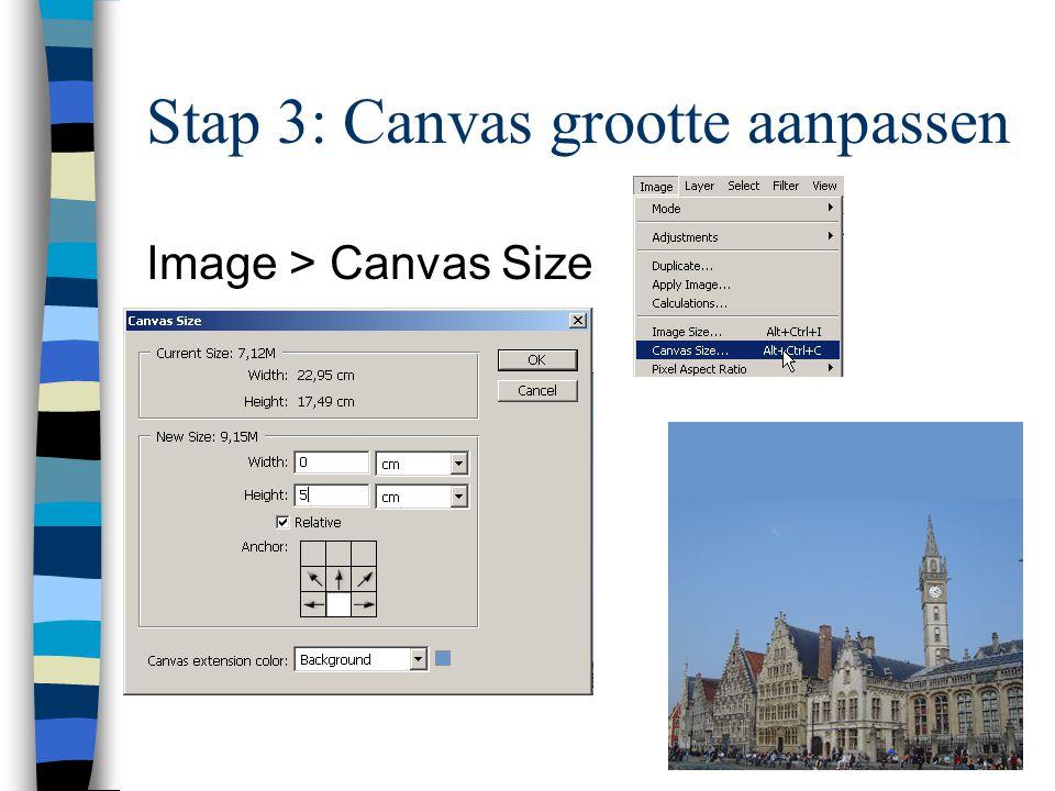 Stap 3: Canvas grootte aanpassen Image > Canvas Size