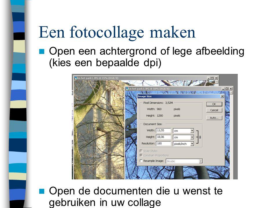  Open een achtergrond of lege afbeelding (kies een bepaalde dpi)  Open de documenten die u wenst te gebruiken in uw collage