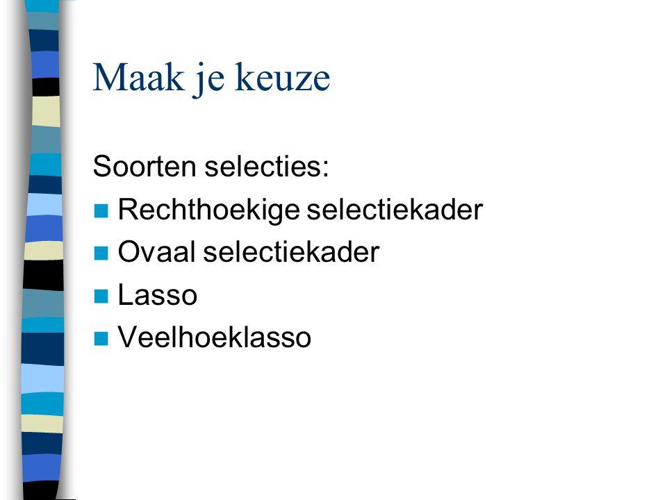 Maak je keuze Soorten selecties:  Rechthoekige selectiekader  Ovaal selectiekader  Lasso  Veelhoeklasso