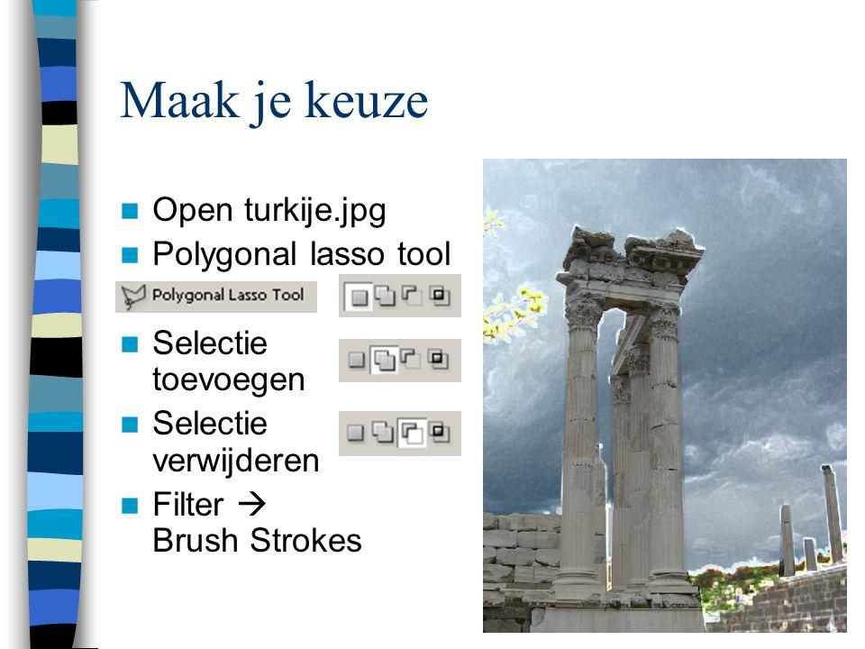 Maak je keuze  Open turkije.jpg  Polygonal lasso tool  Selectie toevoegen  Selectie verwijderen  Filter  Brush Strokes