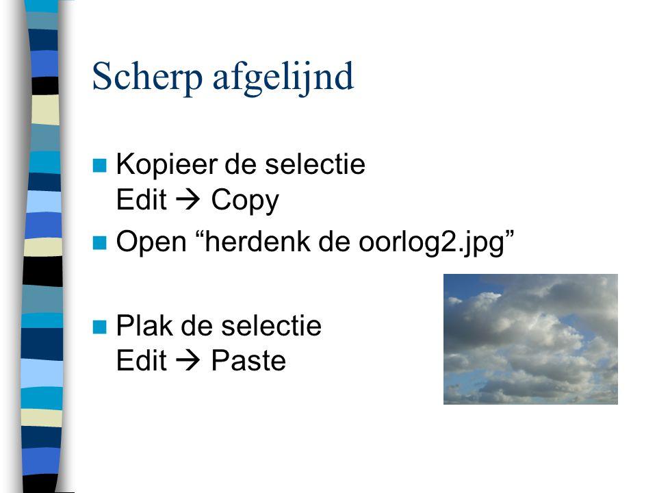  Kopieer de selectie Edit  Copy  Open herdenk de oorlog2.jpg  Plak de selectie Edit  Paste