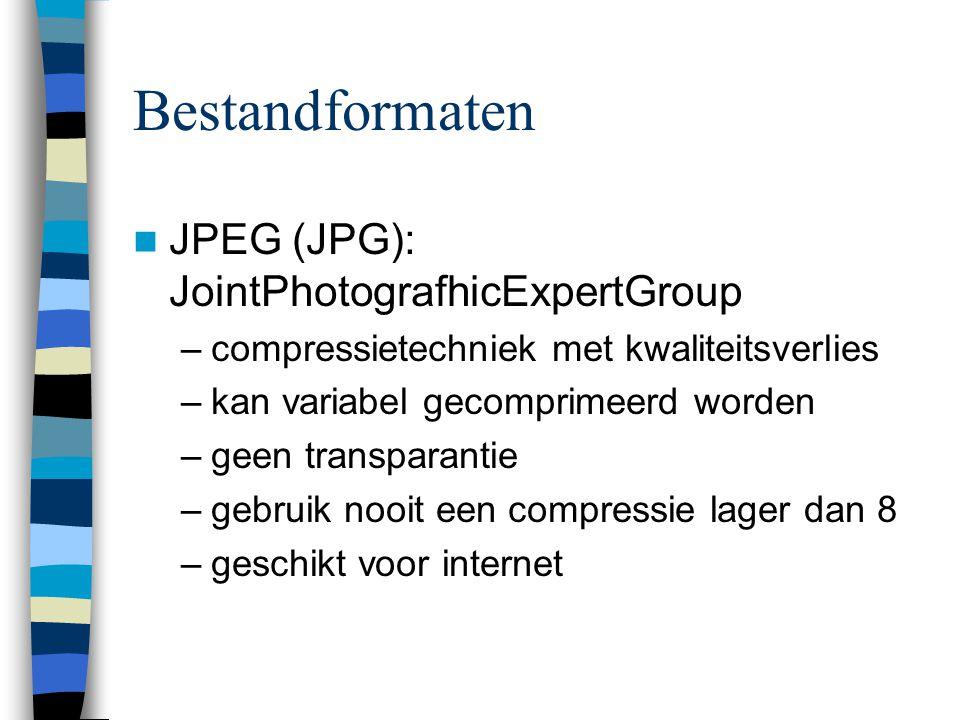 Bestandformaten  JPEG (JPG): JointPhotografhicExpertGroup –compressietechniek met kwaliteitsverlies –kan variabel gecomprimeerd worden –geen transparantie –gebruik nooit een compressie lager dan 8 –geschikt voor internet