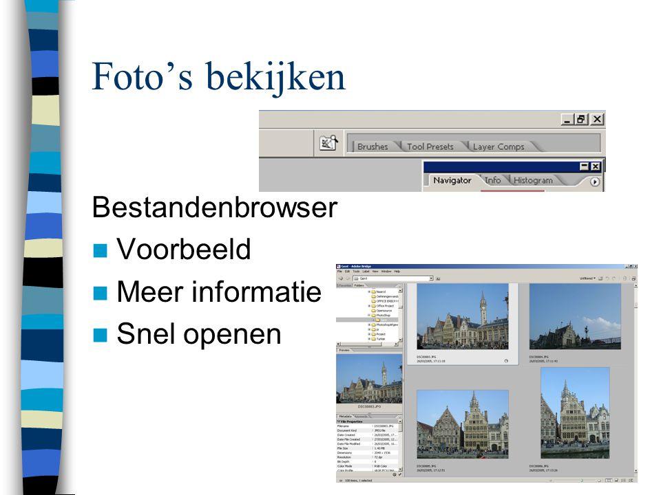 Foto's bekijken Bestandenbrowser  Voorbeeld  Meer informatie  Snel openen