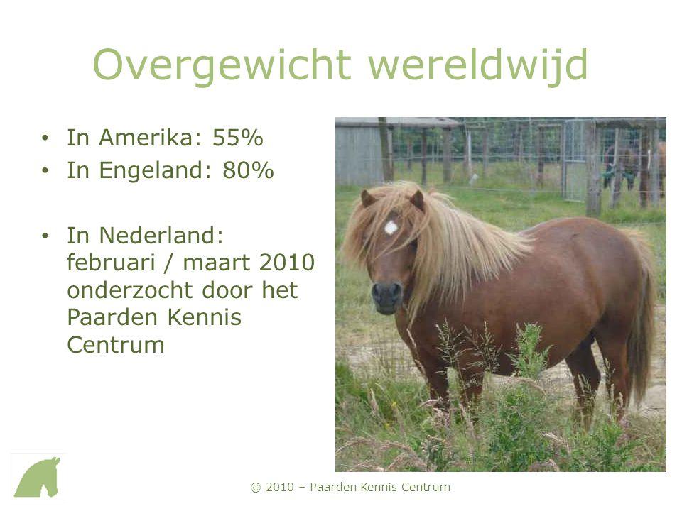 © 2010 – Paarden Kennis Centrum Overgewicht wereldwijd • In Amerika: 55% • In Engeland: 80% • In Nederland: februari / maart 2010 onderzocht door het