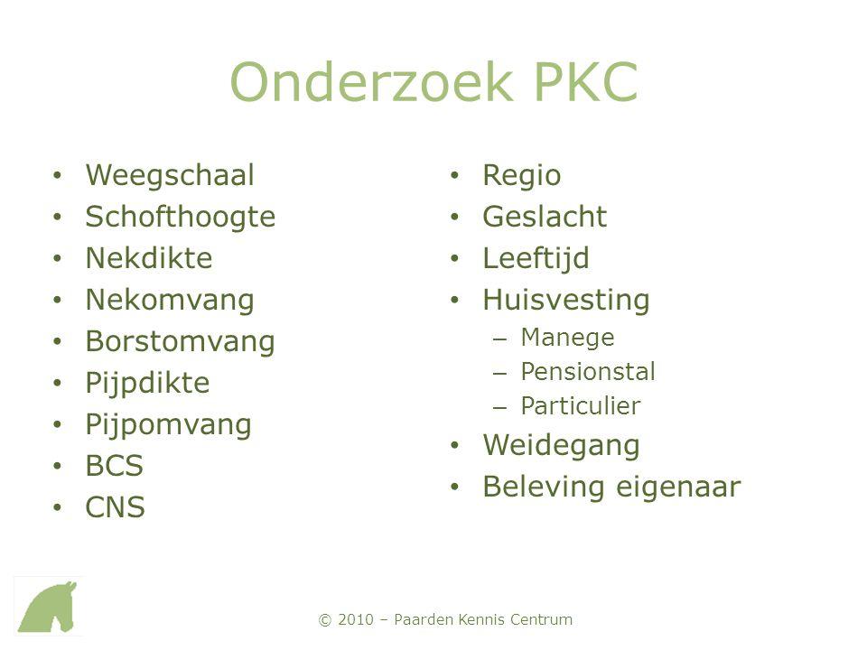 © 2010 – Paarden Kennis Centrum Onderzoek PKC • Weegschaal • Schofthoogte • Nekdikte • Nekomvang • Borstomvang • Pijpdikte • Pijpomvang • BCS • CNS •