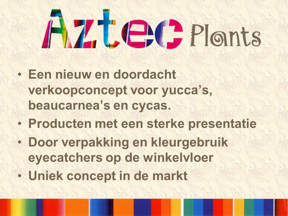 •Een nieuw en doordacht verkoopconcept voor yucca's, beaucarnea's en cycas. •Producten met een sterke presentatie •Door verpakking en kleurgebruik eye