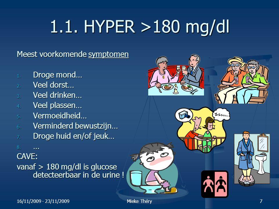 16/11/2009 - 23/11/2009Mieke Théry8 1.1.De mogelijke oorzaken van HYPER glycemie.