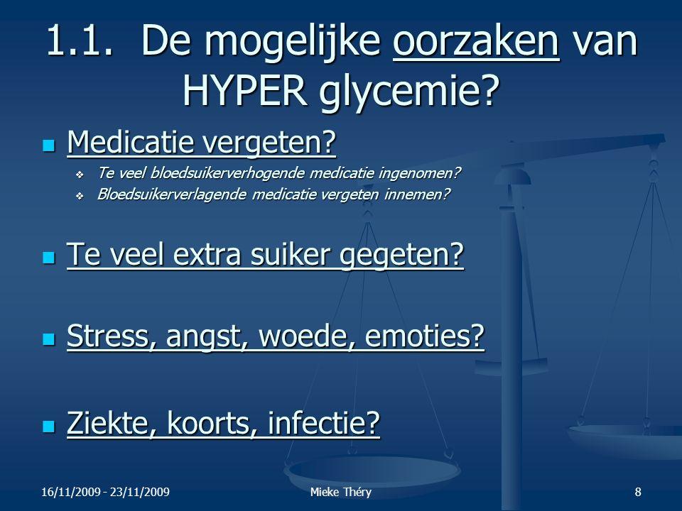 16/11/2009 - 23/11/2009Mieke Théry9 1.1.De gevolgen van HYPER glycemie.