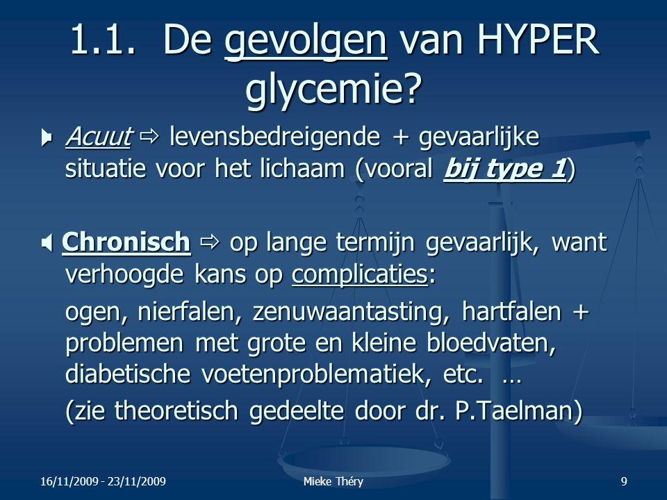 16/11/2009 - 23/11/2009Mieke Théry10 1.2.HYPO glycemie < 80 mg/dl Meest voorkomende symptomen 1.