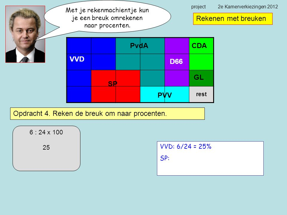 project 2e Kamerverkiezingen 2012 Rekenen met breuken Opdracht 4.