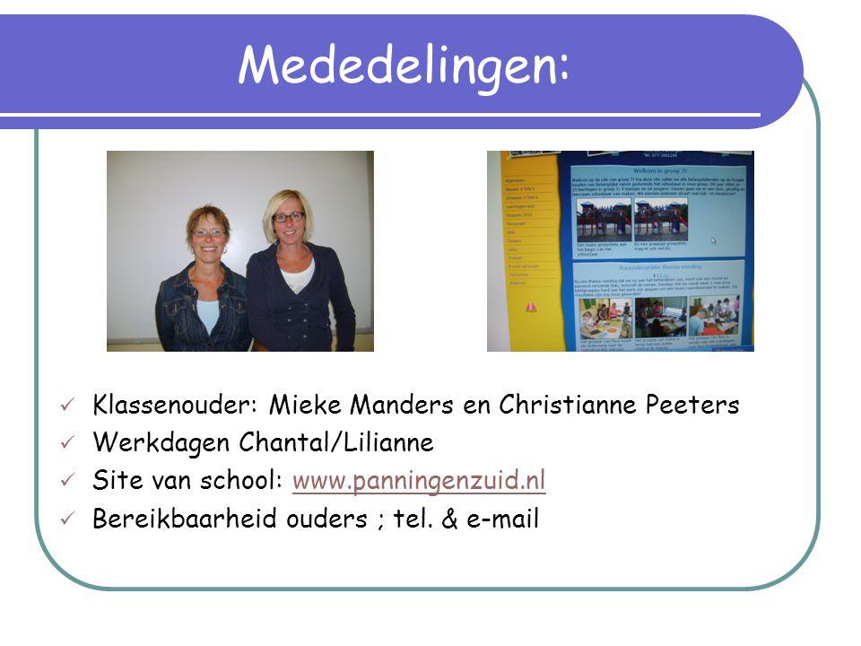 Mededelingen:  Klassenouder: Mieke Manders en Christianne Peeters  Werkdagen Chantal/Lilianne  Site van school: www.panningenzuid.nlwww.panningenzu