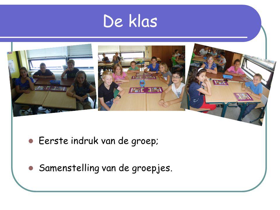 De klas  Eerste indruk van de groep;  Samenstelling van de groepjes.