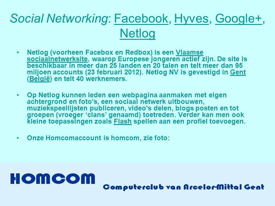 Social Networking: Facebook, Hyves, Google+, NetlogFacebookHyvesGoogle+ Netlog •Netlog (voorheen Facebox en Redbox) is een Vlaamse sociaalnetwerksite, waarop Europese jongeren actief zijn.