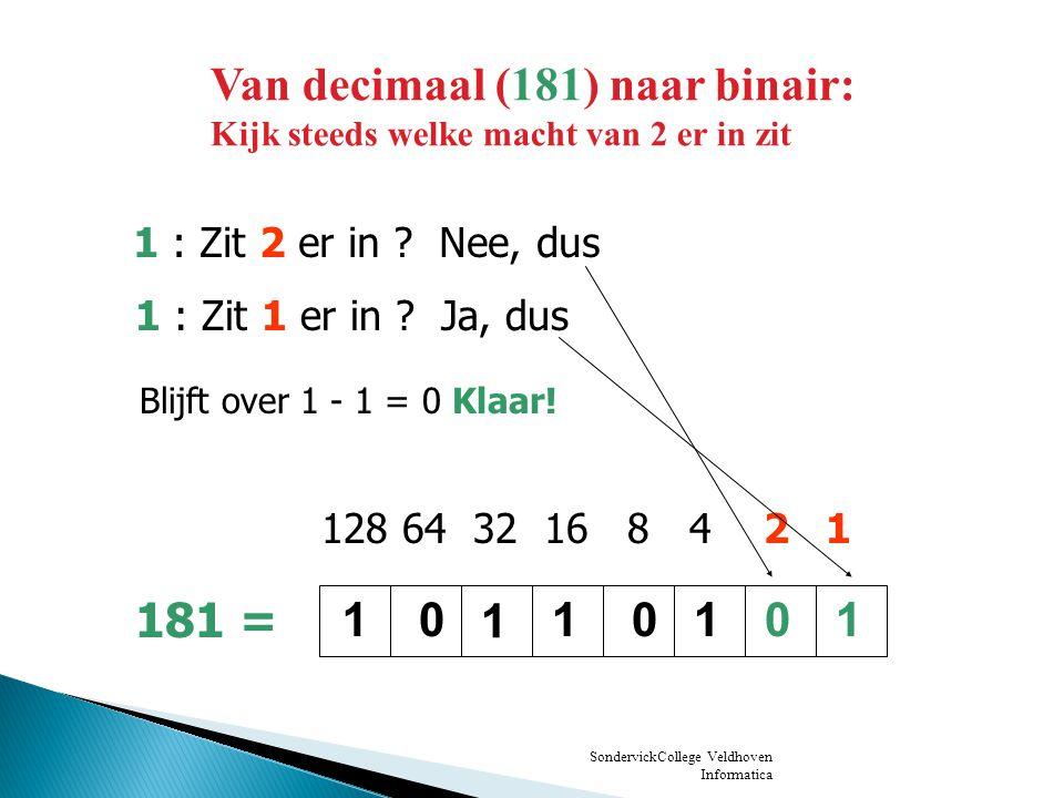 SondervickCollege Veldhoven Informatica 181 90 1 delen door 2 geeft: de rest is: van achter naar voor: 1 Van decimaal (181) naar binair: Andere manier: deel steeds door 2, schrijf de rest op