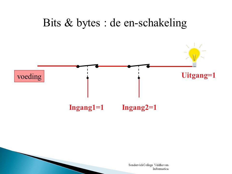SondervickCollege Veldhoven Informatica Ingang1=0Ingang2=1 Uitgang=0 voeding Bits & bytes : de en-schakeling