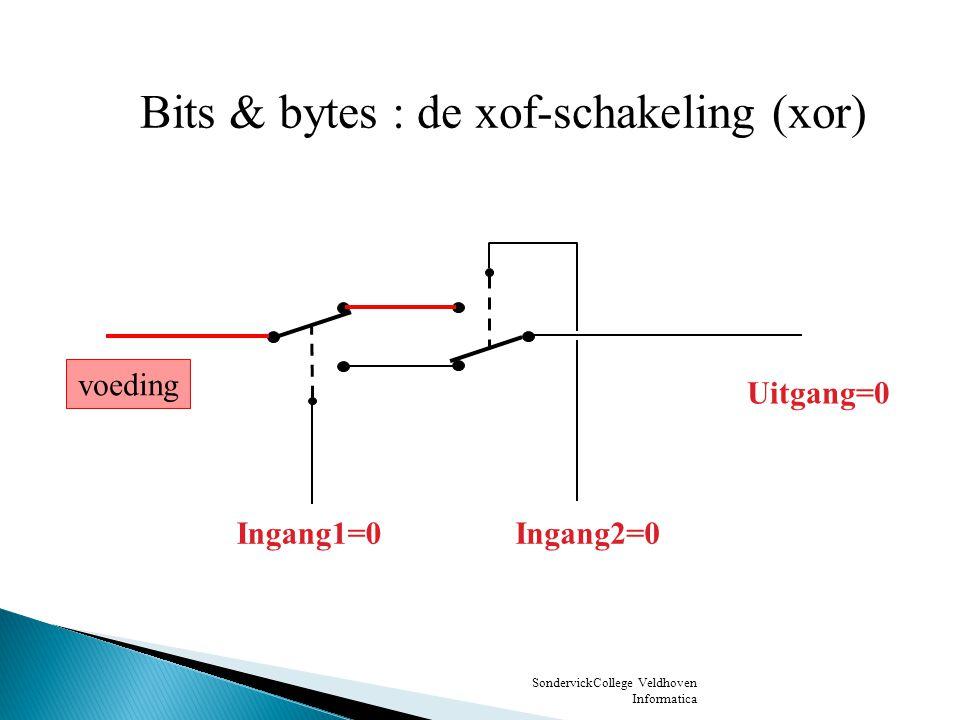 SondervickCollege Veldhoven Informatica voeding Ingang1=1 Ingang2=0 Uitgang=1 Bits & bytes : de xof-schakeling (xor)