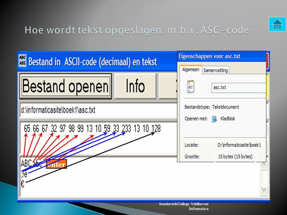 SondervickCollege Veldhoven Informatica Tekst wordt meestal opgeslagen m.b.v.