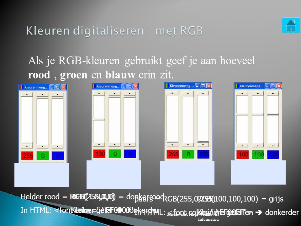 SondervickCollege Veldhoven Informatica Als je inzoomt op een foto zie je dat hij is opgebouwd uit pixels.