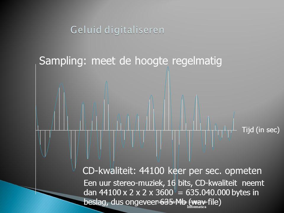 SondervickCollege Veldhoven Informatica Beeld: Bmp-file: zonder compressie Gif-file: 256 kleuren, werkt met een palet JPG-file: gemiddelde kleur van bijv.