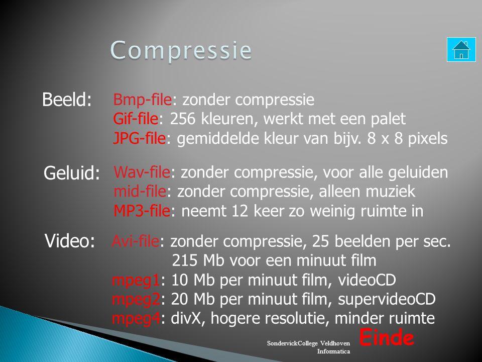 SondervickCollege Veldhoven Informatica Beeld: Bmp-file: zonder compressie Gif-file: 256 kleuren, werkt met een palet JPG-file: gemiddelde kleur van b
