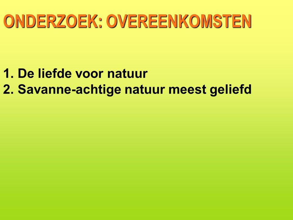 ONDERZOEK: OVEREENKOMSTEN 1.De liefde voor natuur 2.Savanne-achtige natuur meest geliefd