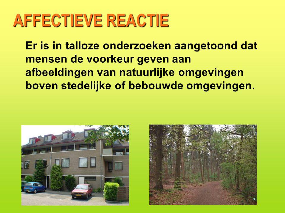 AFFECTIEVE REACTIE Er is in talloze onderzoeken aangetoond dat mensen de voorkeur geven aan afbeeldingen van natuurlijke omgevingen boven stedelijke of bebouwde omgevingen.