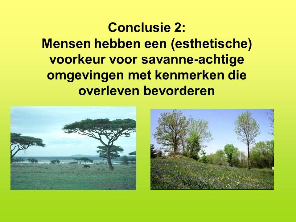 Conclusie 2: Mensen hebben een (esthetische) voorkeur voor savanne-achtige omgevingen met kenmerken die overleven bevorderen