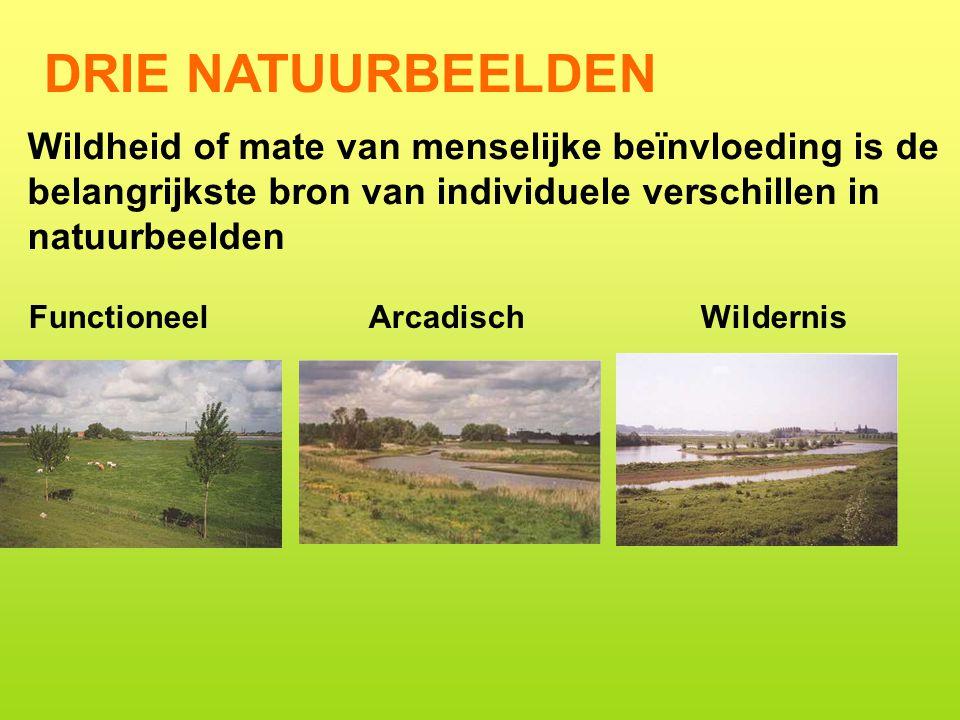 DRIE NATUURBEELDEN Functioneel ArcadischWildernis Wildheid of mate van menselijke beïnvloeding is de belangrijkste bron van individuele verschillen in natuurbeelden