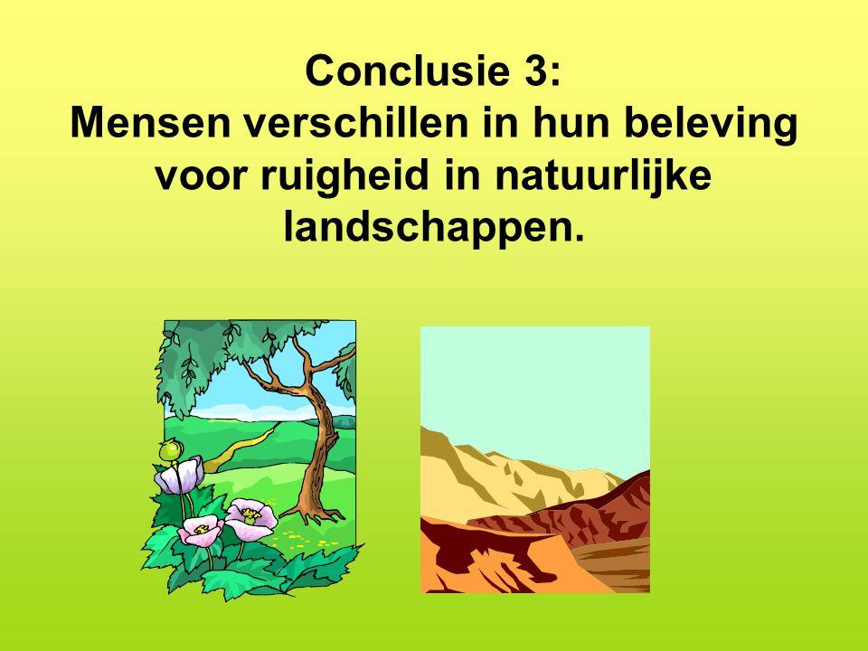 Conclusie 3: Mensen verschillen in hun beleving voor ruigheid in natuurlijke landschappen.
