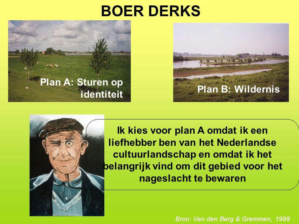 BOER DERKS Plan A: Sturen op identiteit Plan B: Wildernis Ik kies voor plan A omdat ik een liefhebber ben van het Nederlandse cultuurlandschap en omdat ik het belangrijk vind om dit gebied voor het nageslacht te bewaren Bron: Van den Berg & Gremmen, 1999