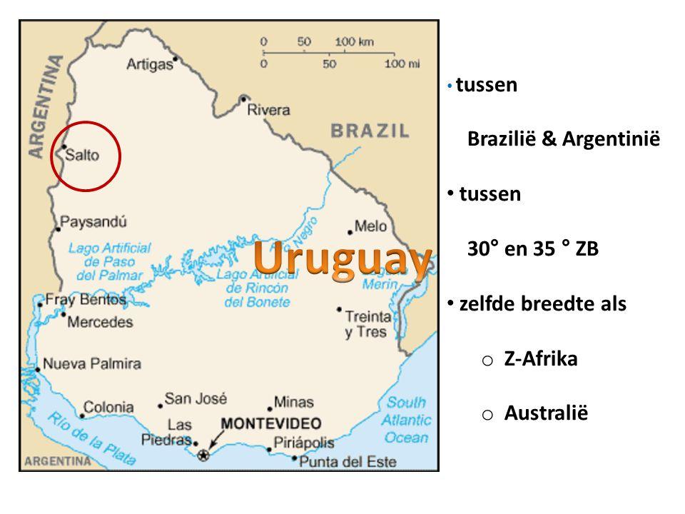 • tussen Brazilië & Argentinië • tussen 30° en 35 ° ZB • zelfde breedte als o Z-Afrika o Australië