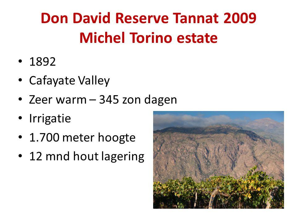 Don David Reserve Tannat 2009 Michel Torino estate • 1892 • Cafayate Valley • Zeer warm – 345 zon dagen • Irrigatie • 1.700 meter hoogte • 12 mnd hout