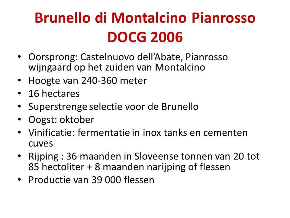 Brunello di Montalcino Pianrosso DOCG 2006 • Oorsprong: Castelnuovo dell'Abate, Pianrosso wijngaard op het zuiden van Montalcino • Hoogte van 240-360