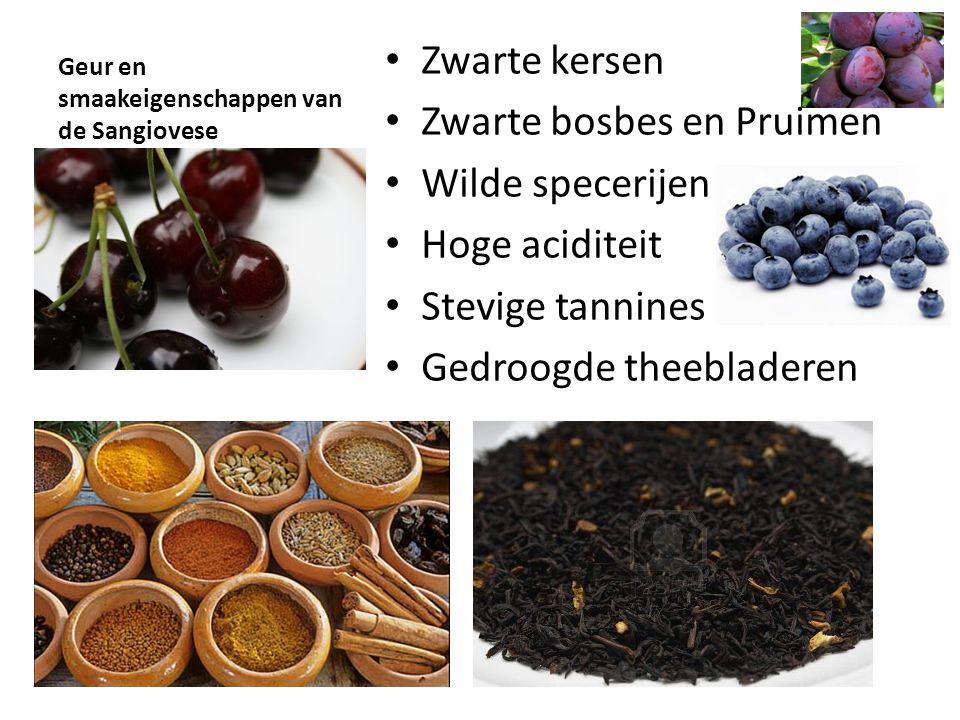 Geur en smaakeigenschappen van de Sangiovese • Zwarte kersen • Zwarte bosbes en Pruimen • Wilde specerijen • Hoge aciditeit • Stevige tannines • Gedro