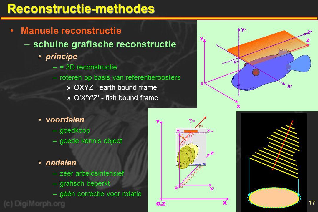17Reconstructie-methodes •Manuele reconstructie –schuine grafische reconstructie •principe –= 3D reconstructie –roteren op basis van referentieroosters »OXYZ - earth bound frame »O'X'Y'Z' - fish bound frame •voordelen –goedkoop –goede kennis object •nadelen –zéér arbeidsintensief –grafisch beperkt –géén correctie voor rotatie
