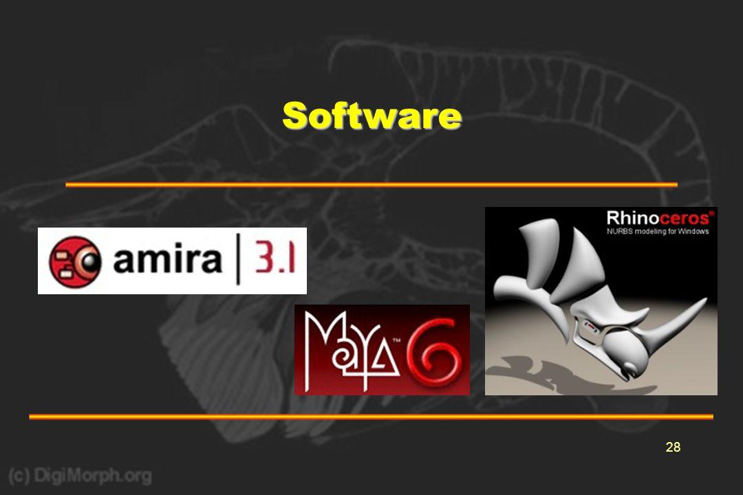 29Software •Enkele voorbeelden van software-pakketen –3D-reconstructies •contour-methode –PC3D –Amira •polygon mesh-methode –Surfdriver –Amira •voxel-methode –Amira •NURBS-methode –Rhino3D –Maya –3D-animaties –Amira –Maya –StudioMax