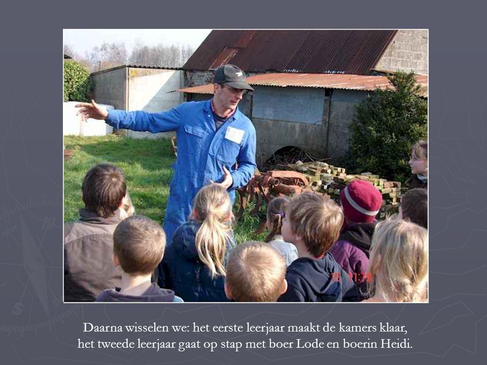 Daarna wisselen we: het eerste leerjaar maakt de kamers klaar, het tweede leerjaar gaat op stap met boer Lode en boerin Heidi.