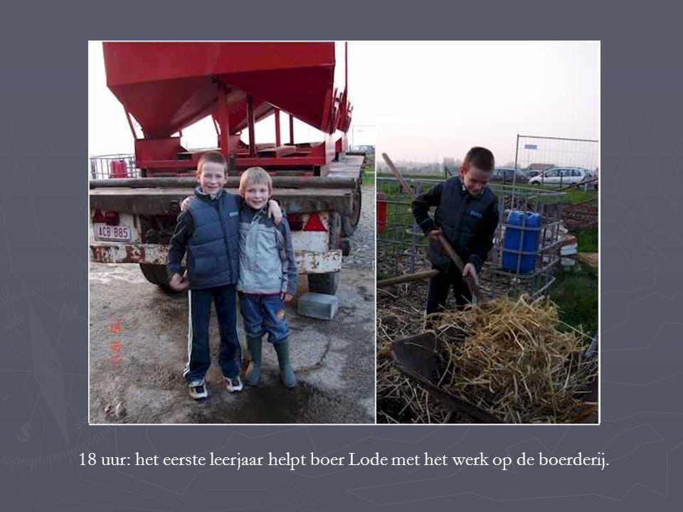 18 uur: het eerste leerjaar helpt boer Lode met het werk op de boerderij.