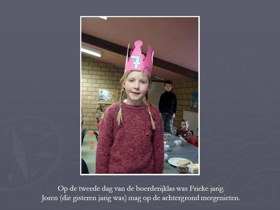 Op de tweede dag van de boerderijklas was Frieke jarig.