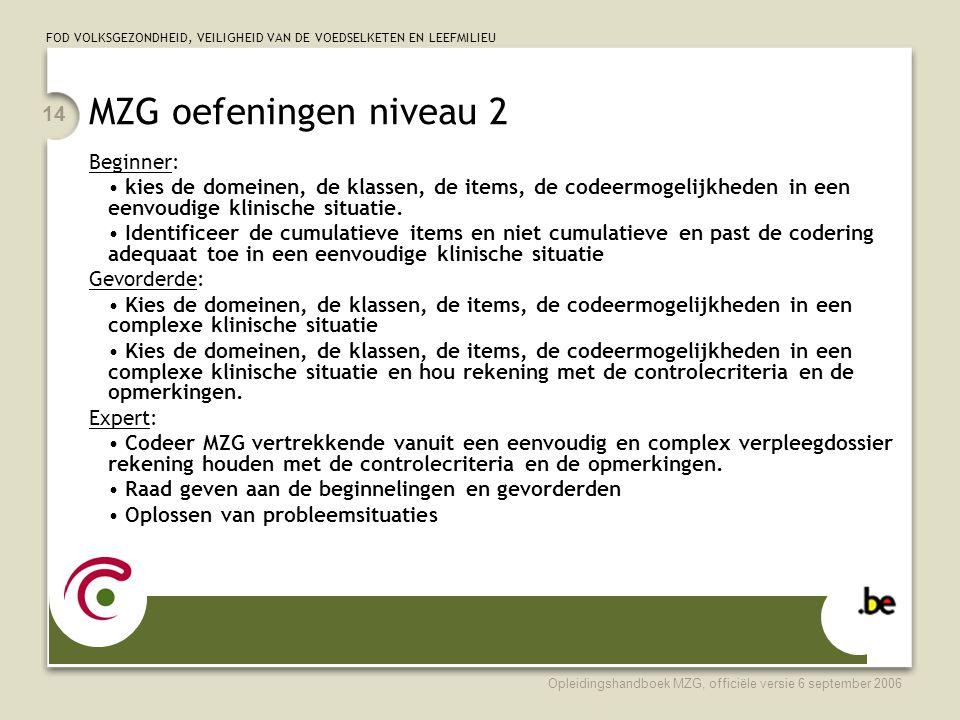 FOD VOLKSGEZONDHEID, VEILIGHEID VAN DE VOEDSELKETEN EN LEEFMILIEU Opleidingshandboek MZG, officiële versie 6 september 2006 14 MZG oefeningen niveau 2