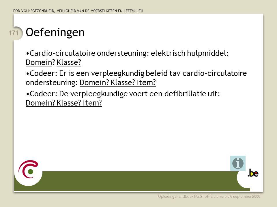 FOD VOLKSGEZONDHEID, VEILIGHEID VAN DE VOEDSELKETEN EN LEEFMILIEU Opleidingshandboek MZG, officiële versie 6 september 2006 171 Oefeningen •Cardio-circulatoire ondersteuning: elektrisch hulpmiddel: Domein.